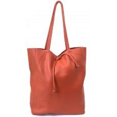Leder Shopper City - Buddha Orange - Orange medium