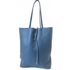 Leder Shopper City - Denim -Blau