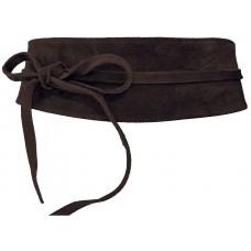 Obi Gürtel Velour Leder - Dark Brown - Kastanien Braun