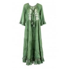 Bohemian Maxikleid im Ethno Stil - grün - Damen